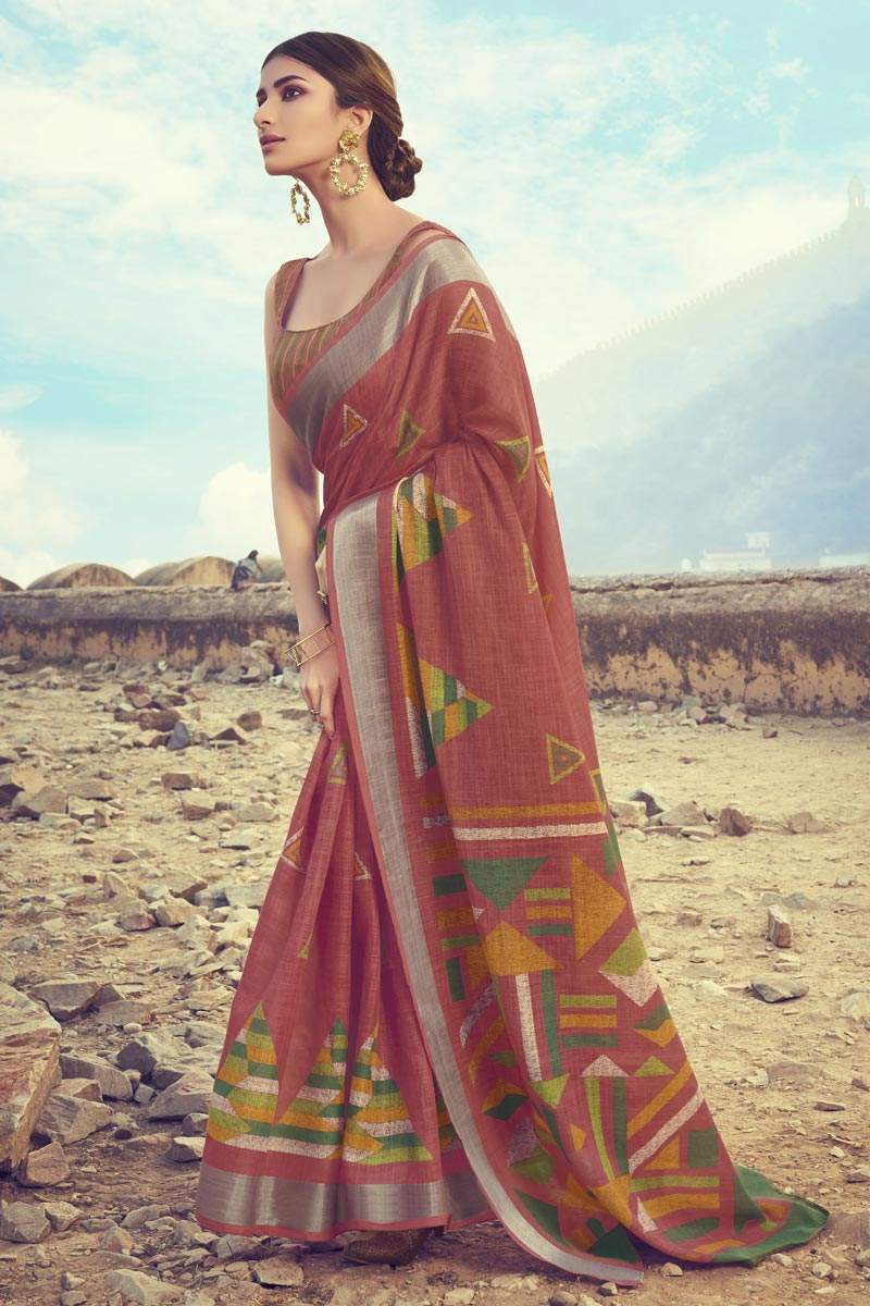 Fancy Linen Fabric Maroon Color Daily Wear Printed Saree