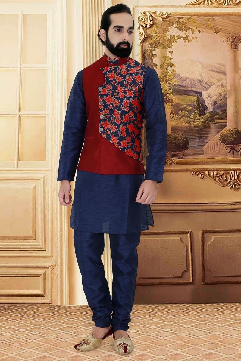 Cotton Fabric Navy Blue Color Sangeet Wear Kurta Pyjama With Jacket