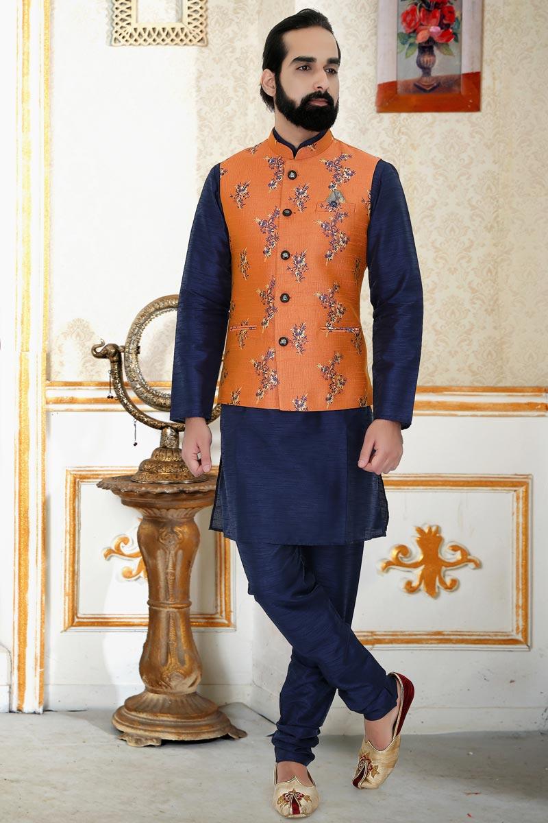Sangeet Wear Cotton Fabric Navy Blue Color Kurta Pyjama With Jacket