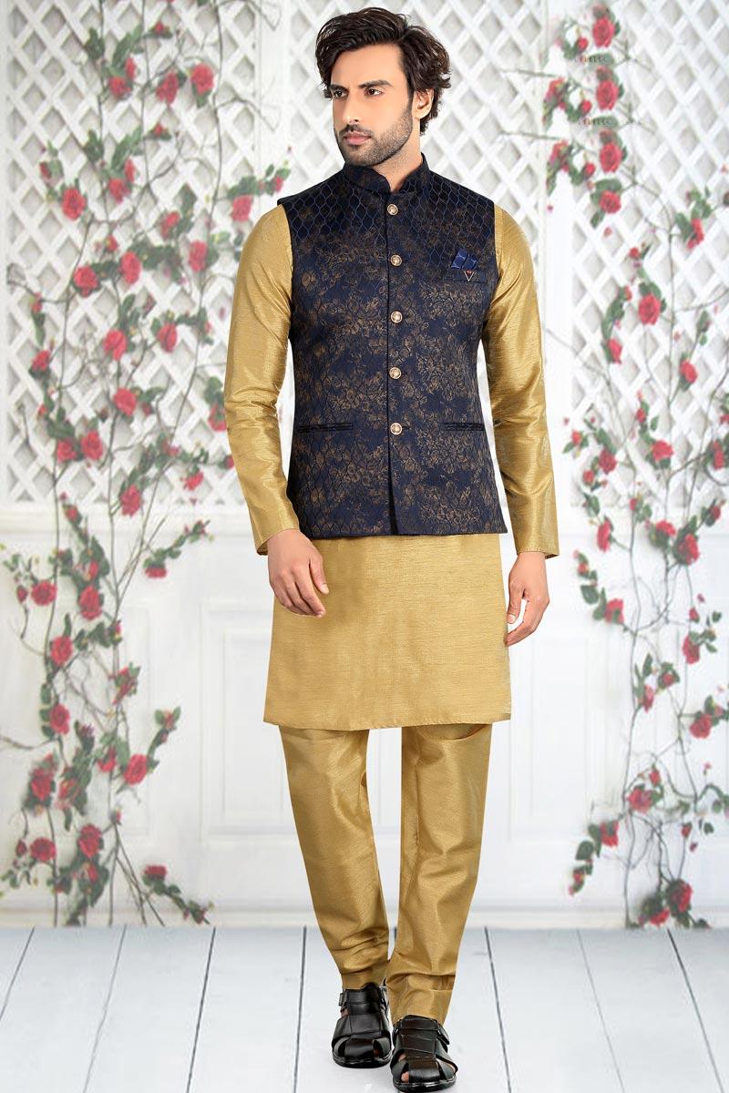 Sangeet Wear Fancy Golden Color Kurta Pyjama With Jacket In Cotton Fabric