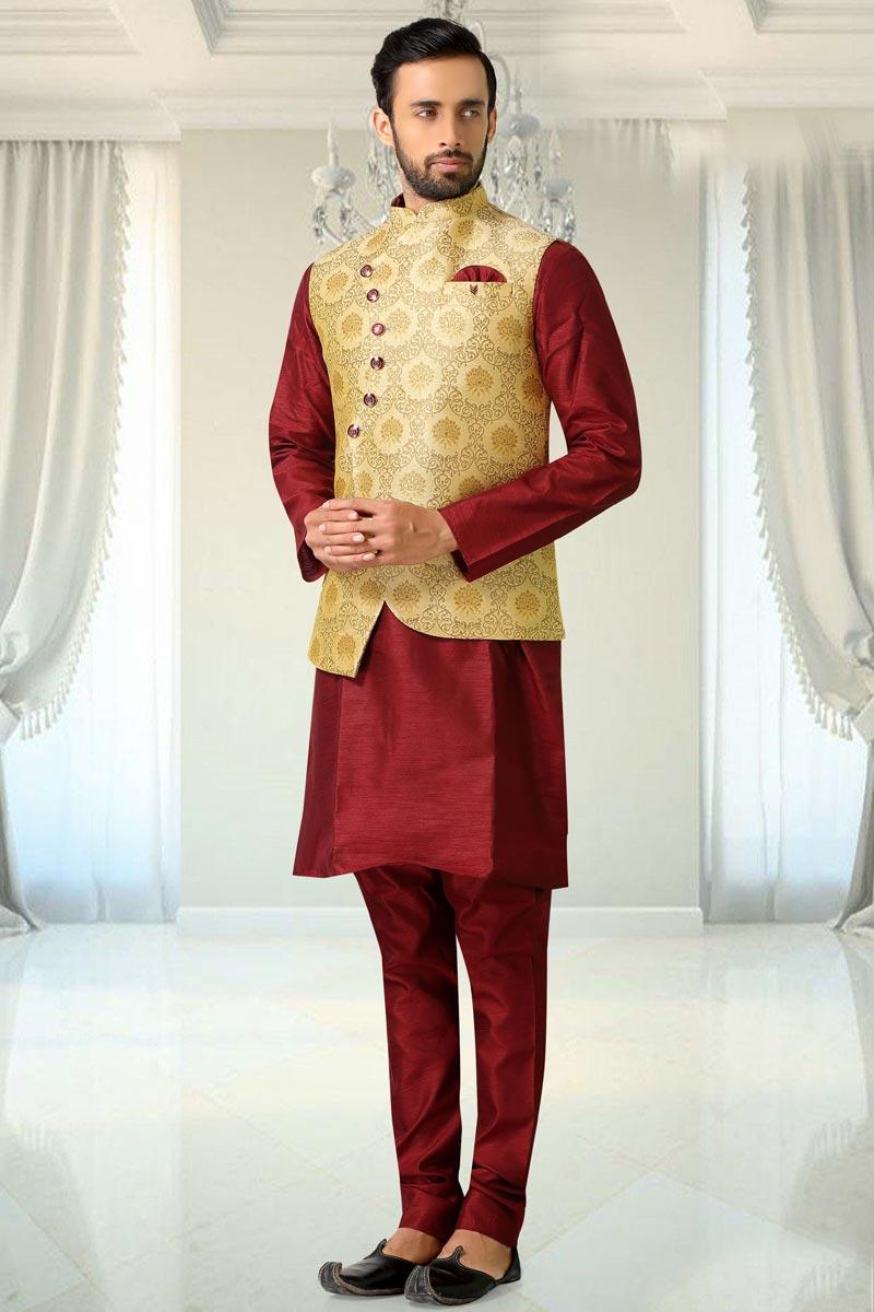 Maroon Color Sangeet Wear Designer Cotton Fabric Kurta Pyjama With Jacket