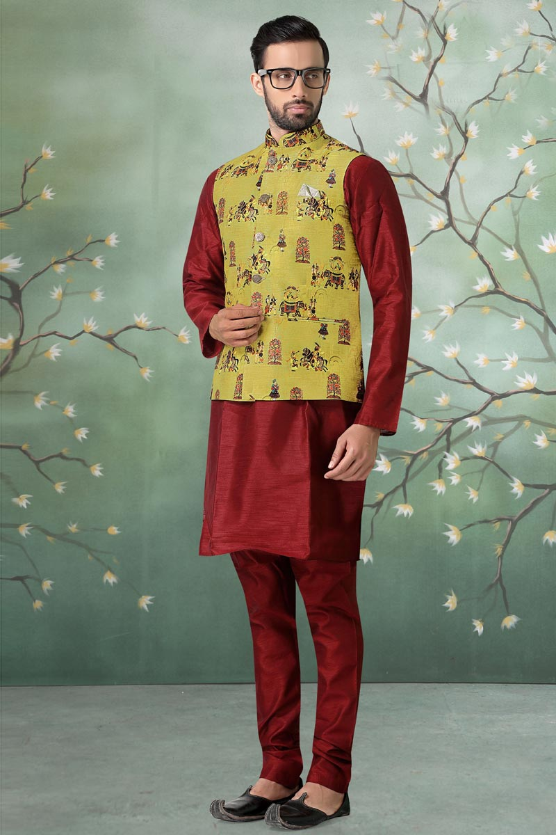Cotton Fabric Sangeet Wear Maroon Color Kurta Pyjama With Jacket