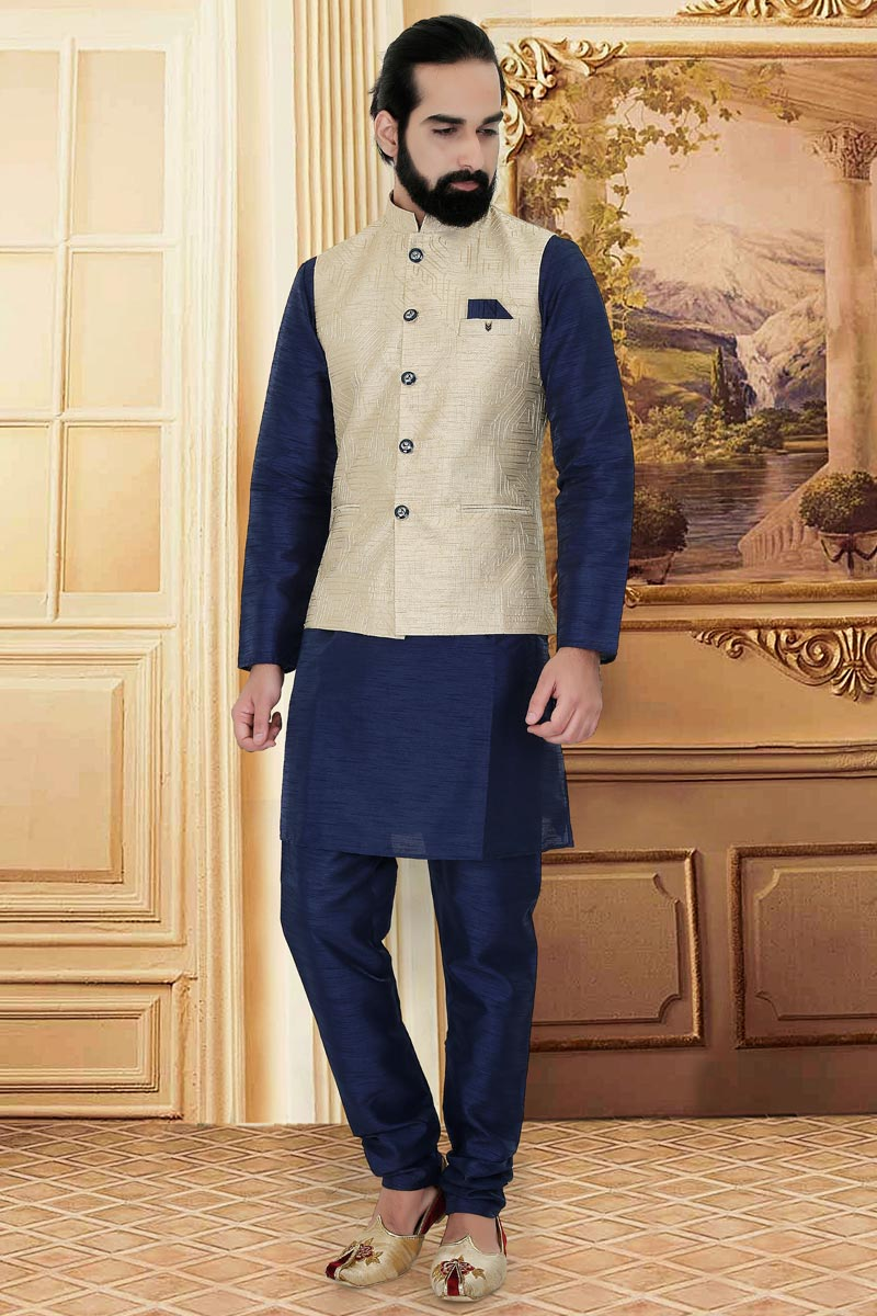 Designer Navy Blue Color Kurta Pyjama With Jacket In Cotton Fabric