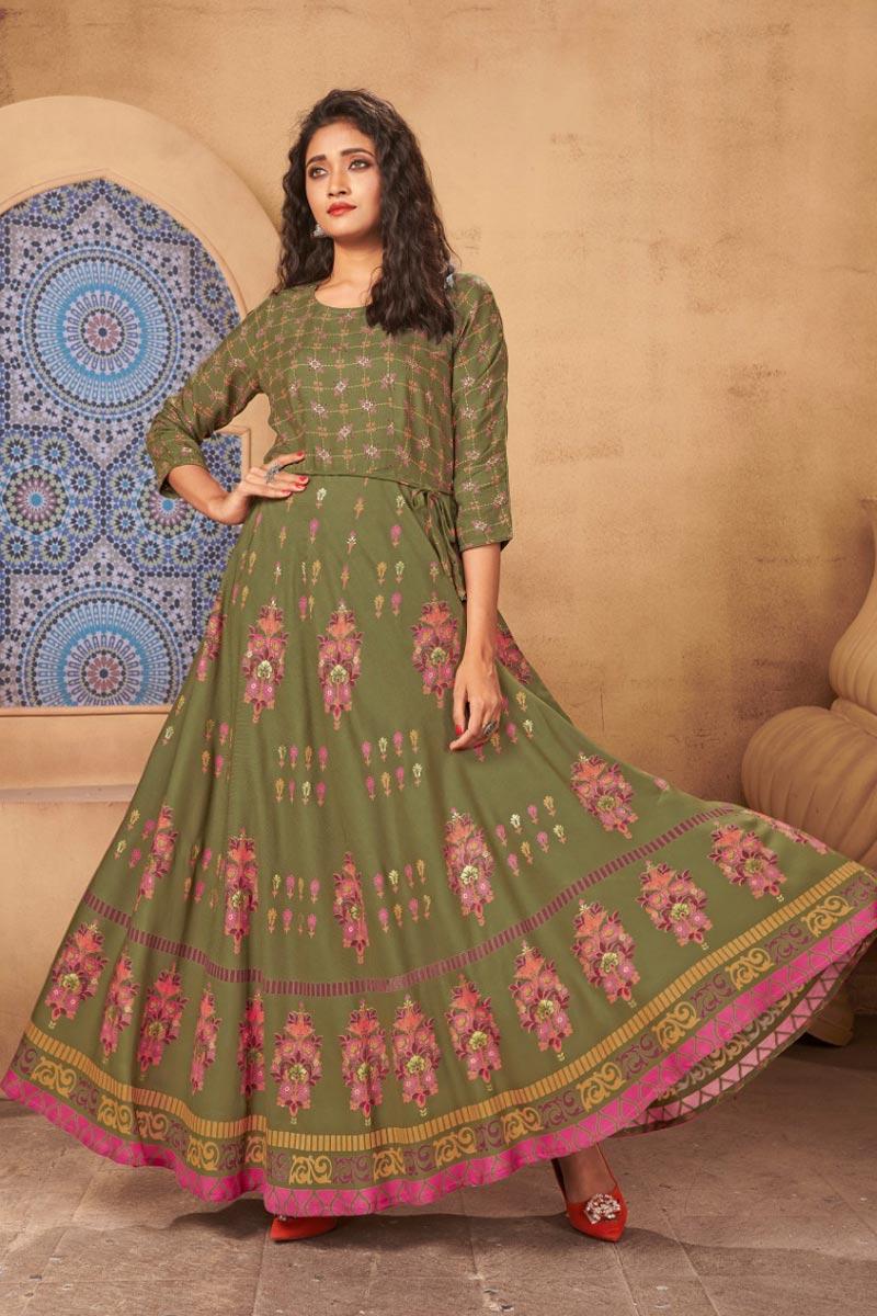 Fancy Casual Wear Mehendi Green Color Rayon Fabric Gown Style Kurti