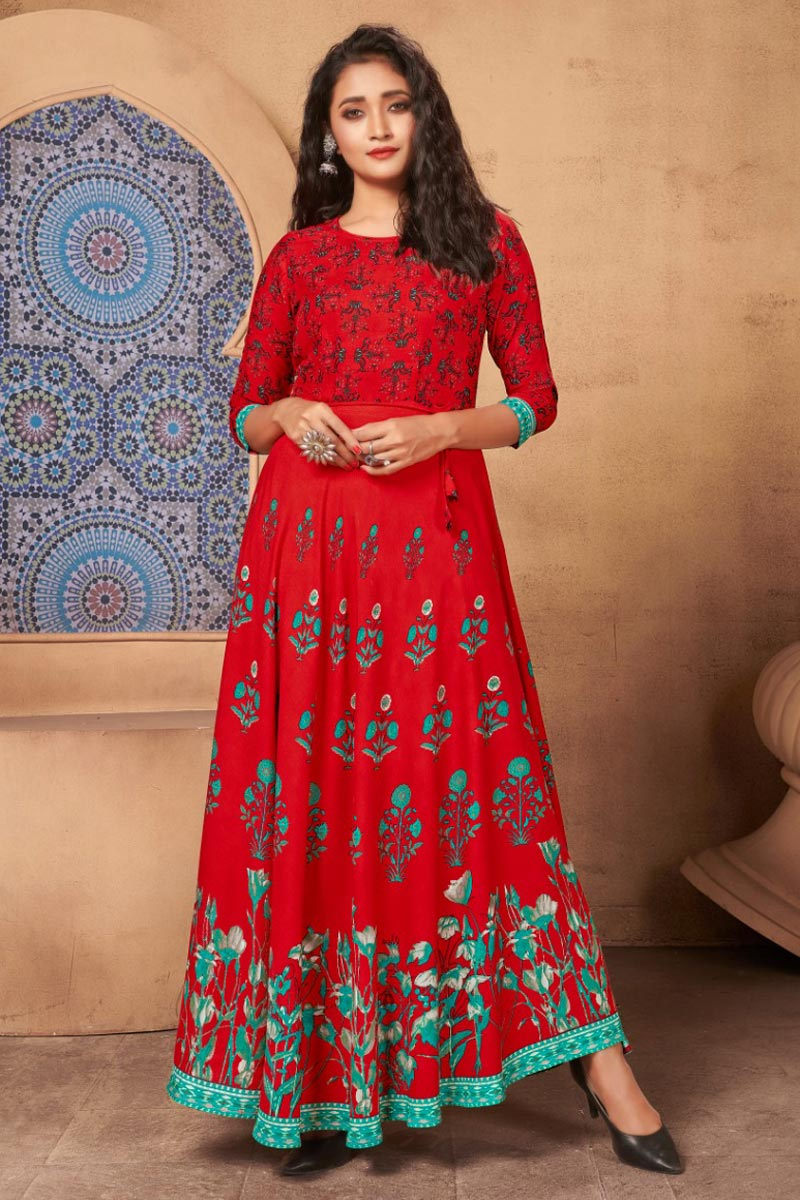 Red Color Casual Wear Stylish Rayon Fabric Gown Style Kurti