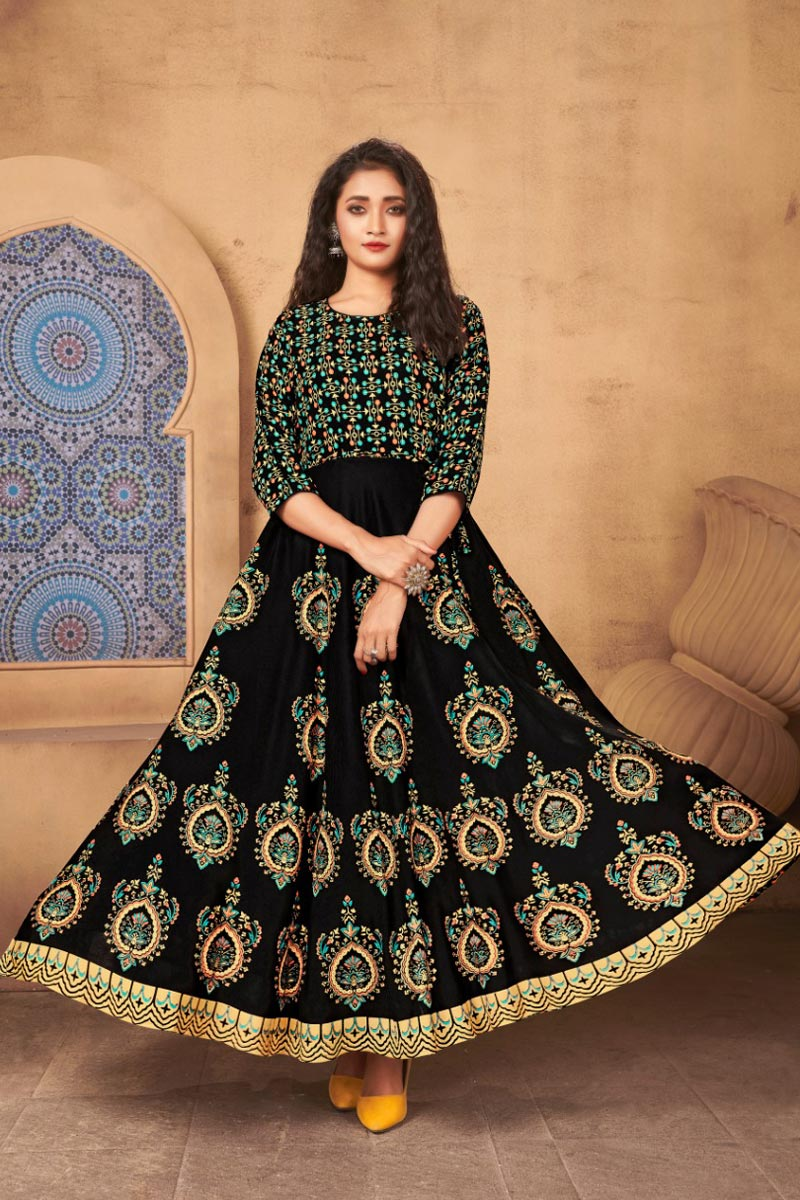 Black Color Rayon Fabric Fancy Printed Daily Wear Gown Style Kurti
