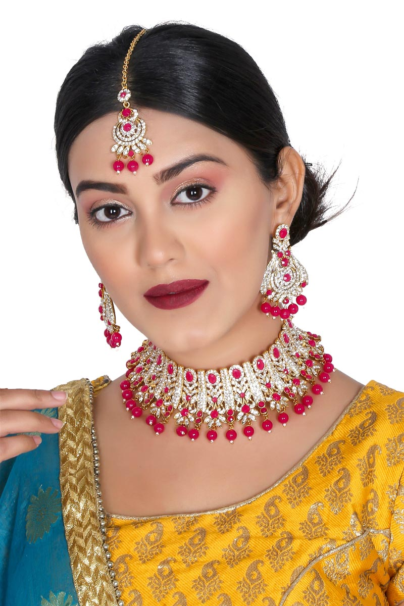 Trendy Rani Color Function Wear Alloy Metal Necklace Set