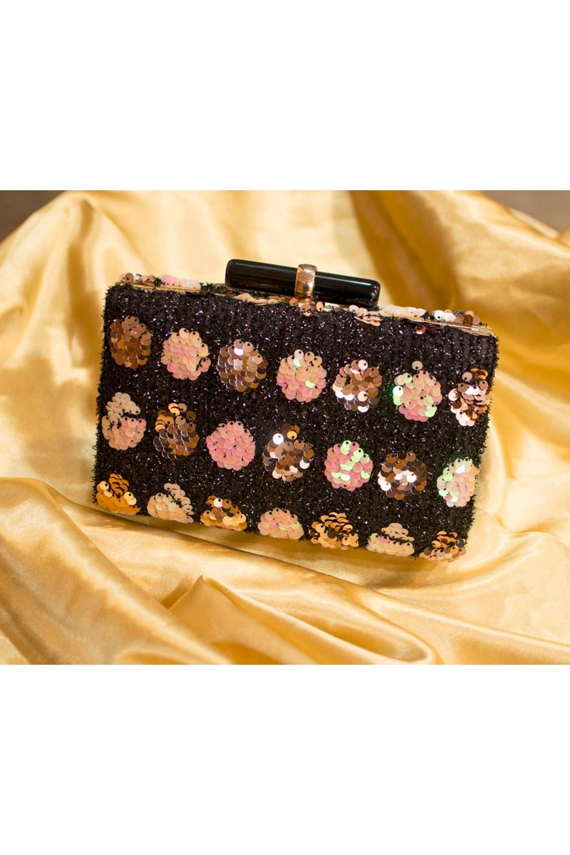 Party Style Black Color Designer Clutch Bag For Women