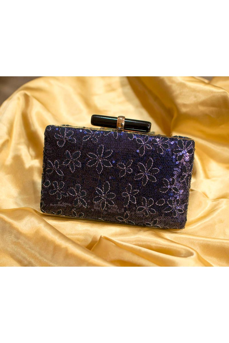 Stylish Navy Blue Color Designer Clutch For Women