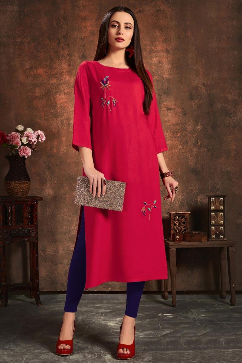 Rayon Fabric Rani Color Daily Wear Simple Kurti
