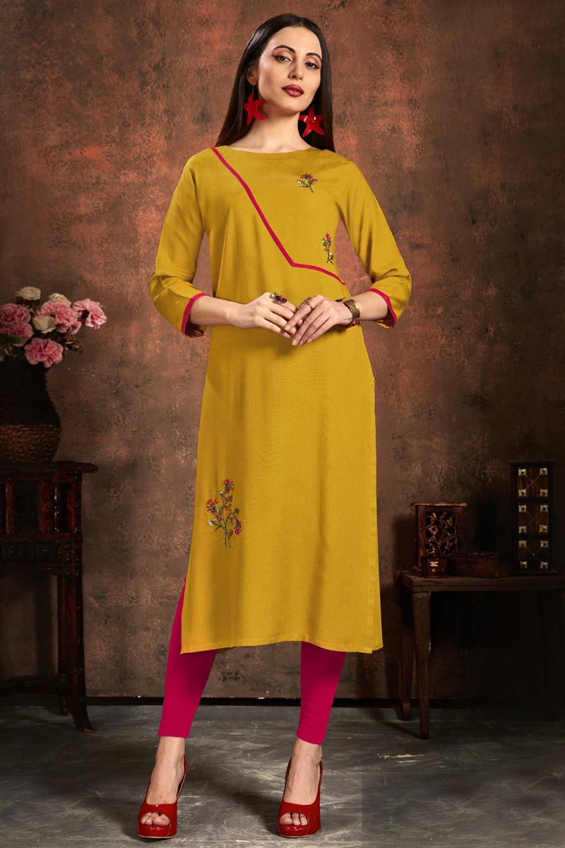 Mustard Color Casual Wear Stylish Rayon Fabric Kurti