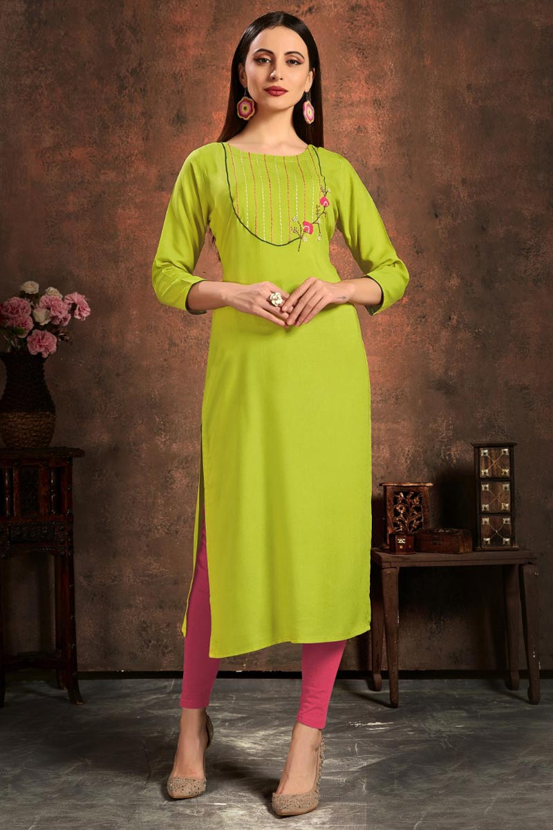 Rayon Fabric Green Color Daily Wear Simple Kurti