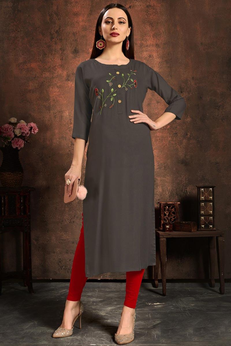 Stylish Grey Color Daily Wear Simple Kurti In Rayon Fabric