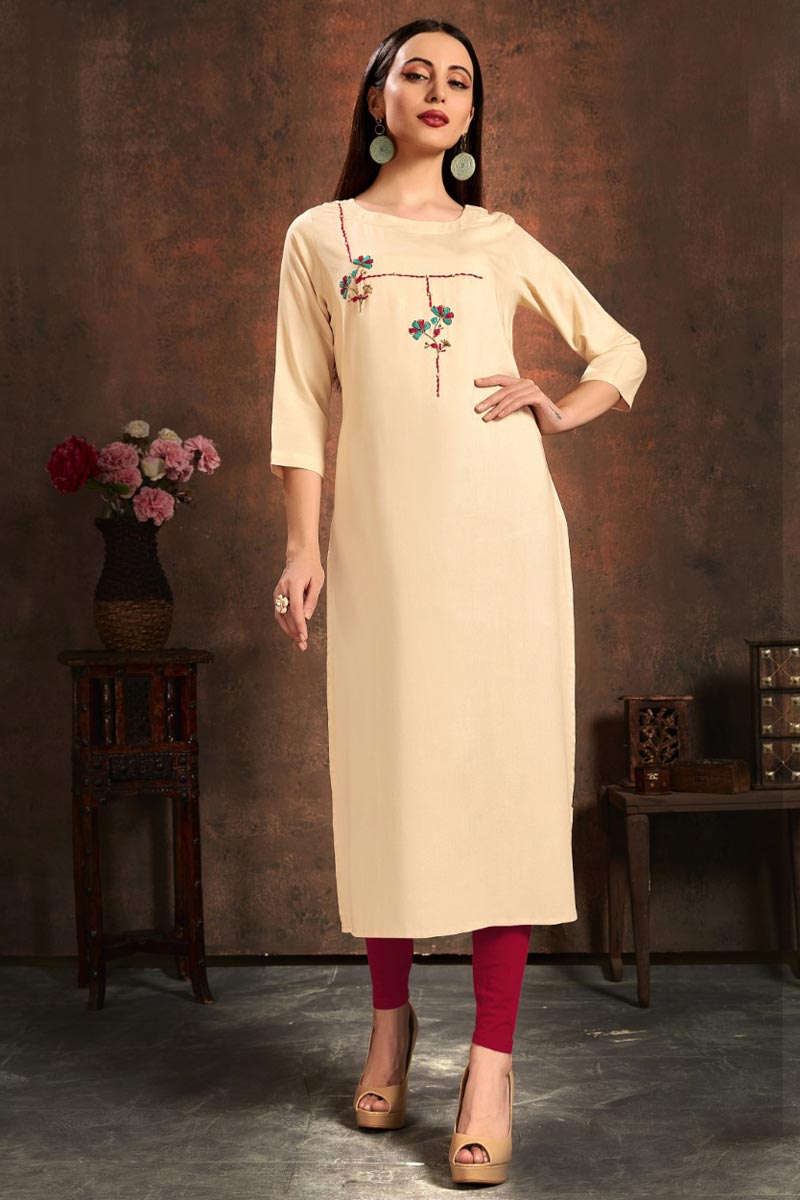 Rayon Fabric Fancy Office Wear Kurti In Beige Color