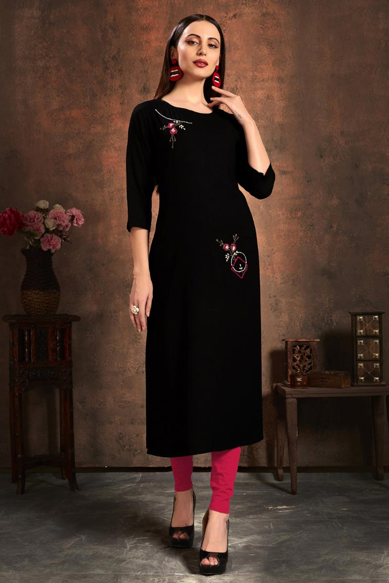 Rayon Fabric Black Color Simple Embroidery Work Casual Wear Kurti