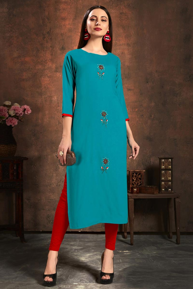 Fancy Casual Wear Cyan Color Rayon Fabric Kurti