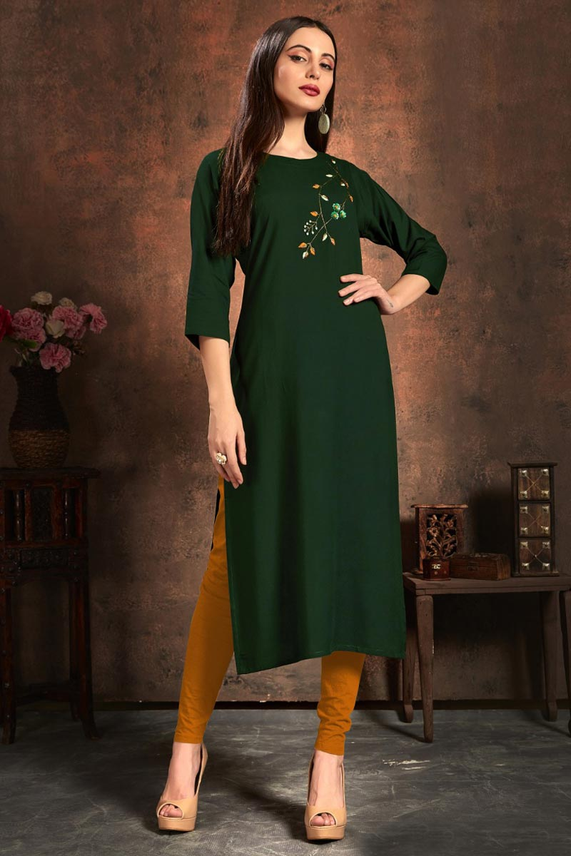 Rayon Fabric Dark Green Color Simple Embroidery Work Casual Wear Kurti