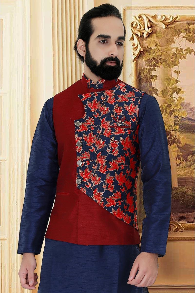 Art Silk Fabric Maroon Color Function Wear Jacket