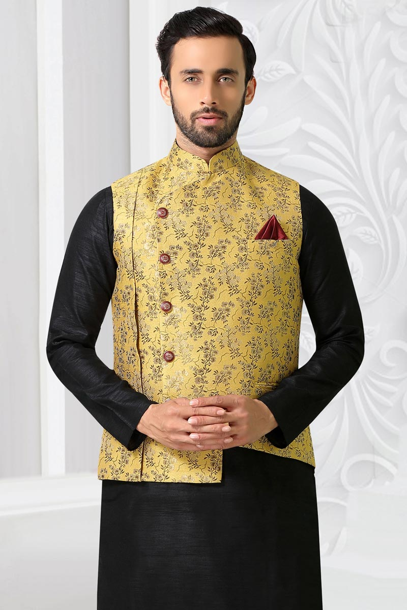 Yellow Color Jacquard Fabric Designer Jacket