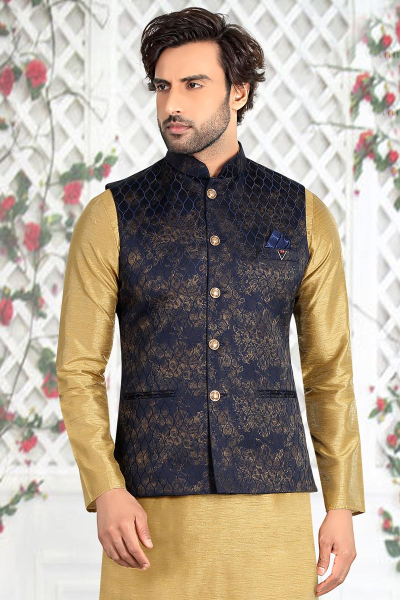 Function Wear Jacquard Fabric Jacket In Navy Blue Color For Men