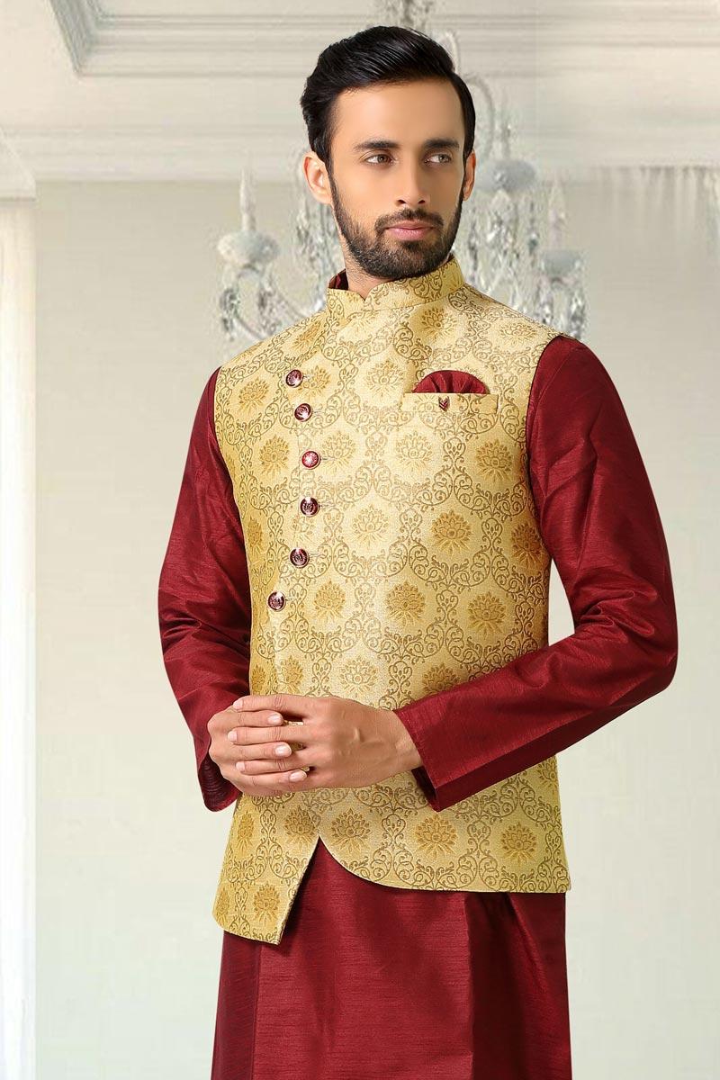 Mens Function Wear Jacquard Fabric Beige Color Jacket