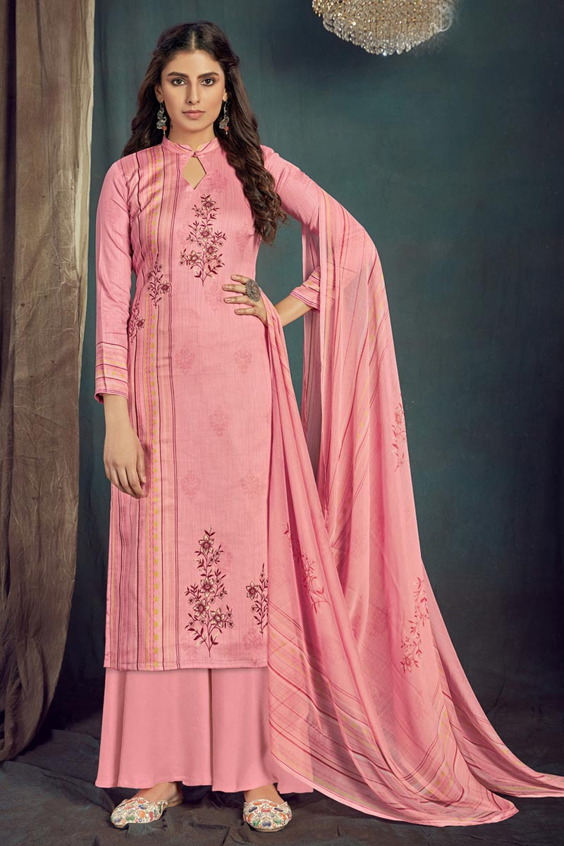 Pink Color Casual Wear Trendy Printed Cotton Fabric Palazzo Dress