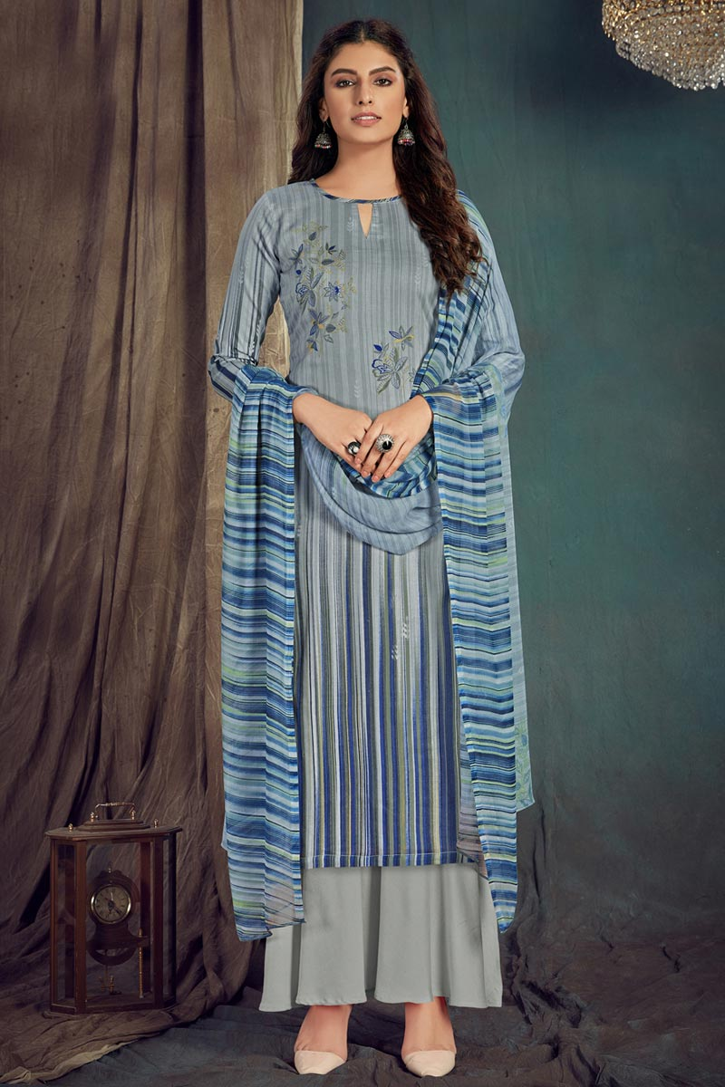 Trendy Cotton Fabric Casual Wear Grey Color Printed Palazzo Suit