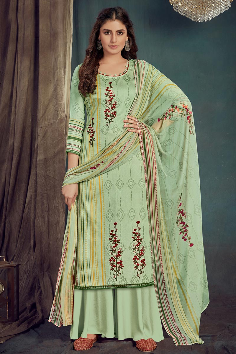 Trendy Casual Wear Sea Green Color Cotton Fabric Printed Palazzo Suit
