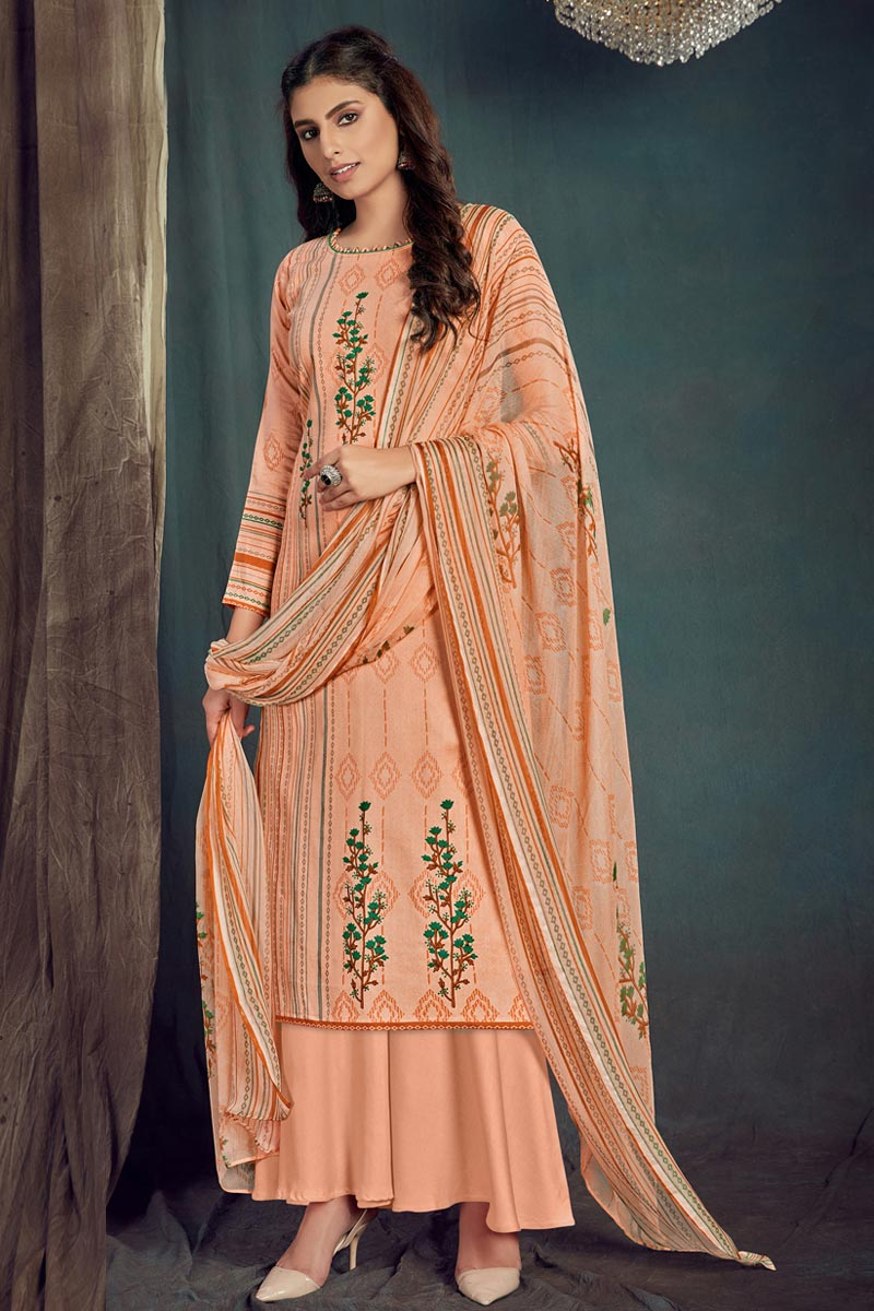 Trendy Peach Color Casual Wear Cotton Fabric Printed Palazzo Suit