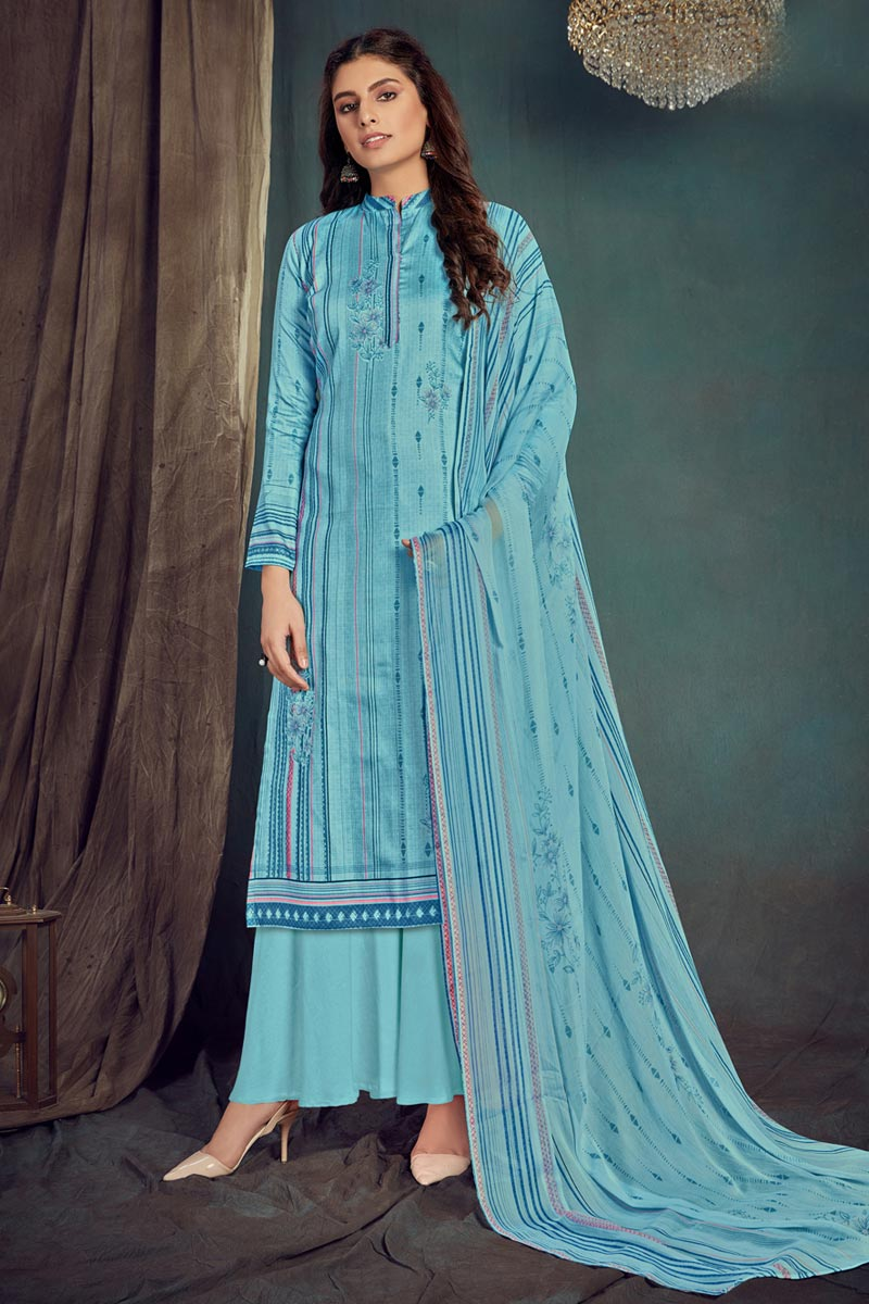 Cotton Fabric Casual Wear Trendy Printed Palazzo Dress In Sky Blue Color