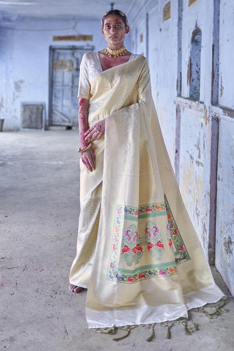 Beige Color Puja Wear Art Silk Fabric Fancy Weaving Work Saree