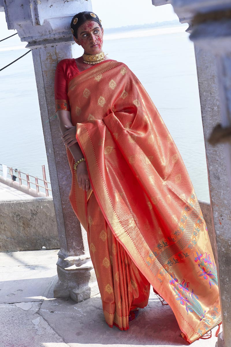 Puja Wear Fancy Red Color Weaving Work Saree In Art Silk Fabric