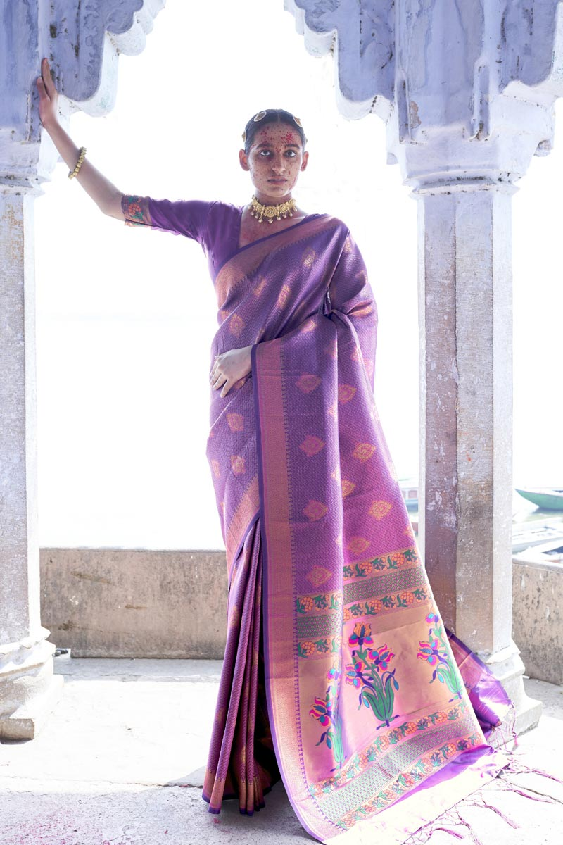 Puja Wear Purple Color Fancy Art Silk Fabric Weaving Work Saree