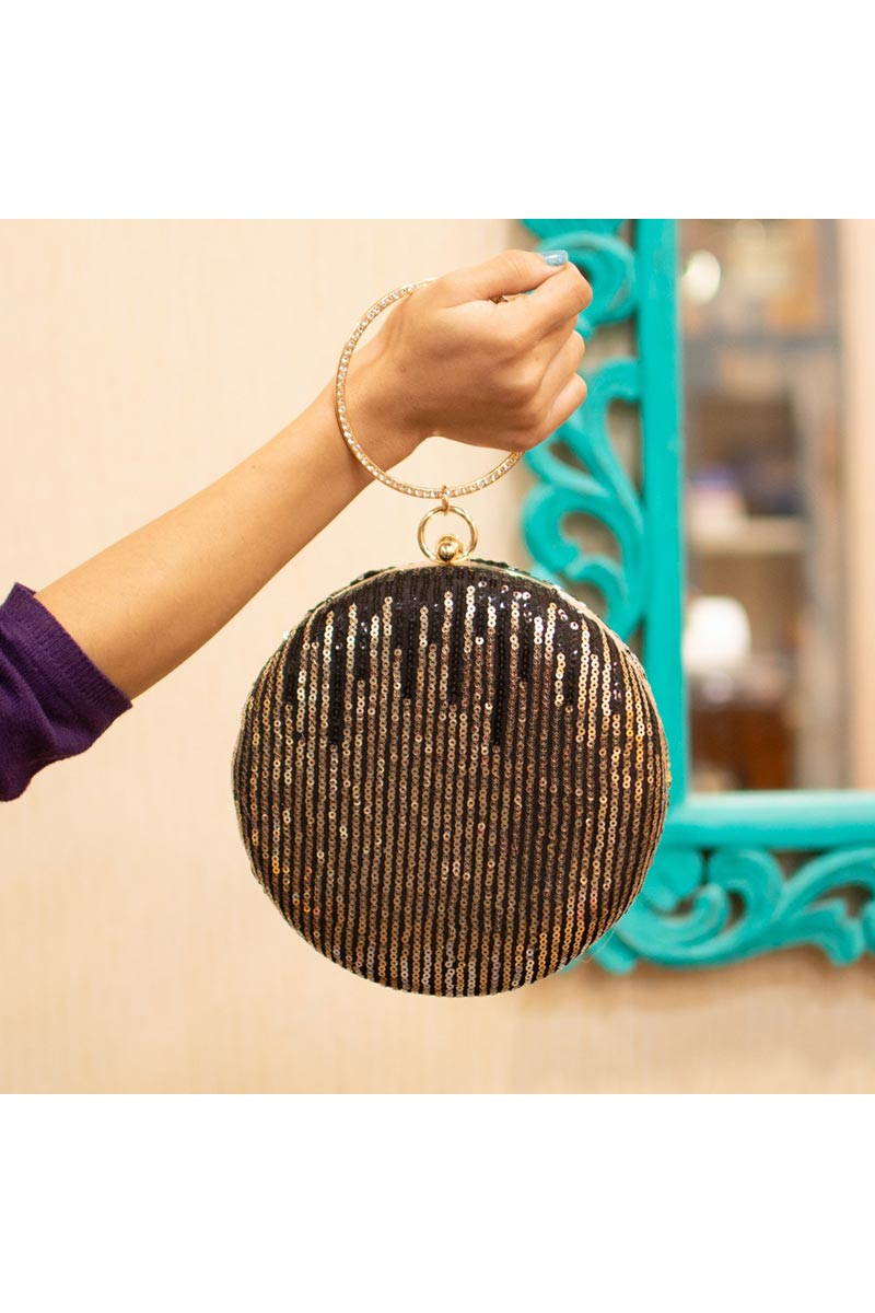 Party Style Round Shape Clutch Bag For Women In Black Color