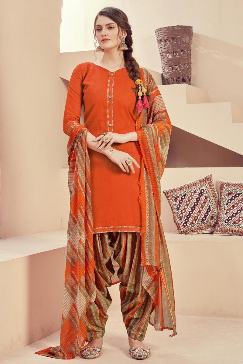 Fancy Jacquard Fabric Casual Wear Printed Orange Color Patiala Suit