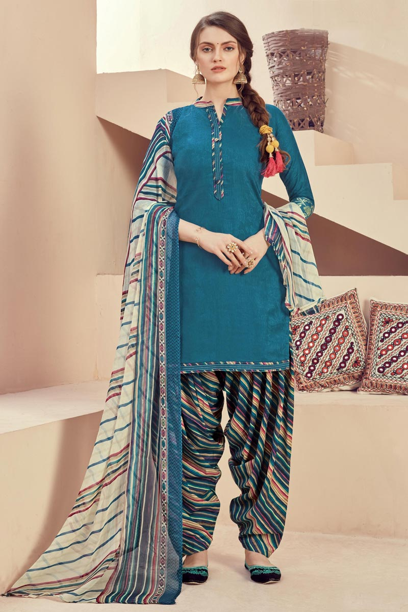 Jacquard Fabric Casual Wear Fancy Printed Teal Color Patiala Dress