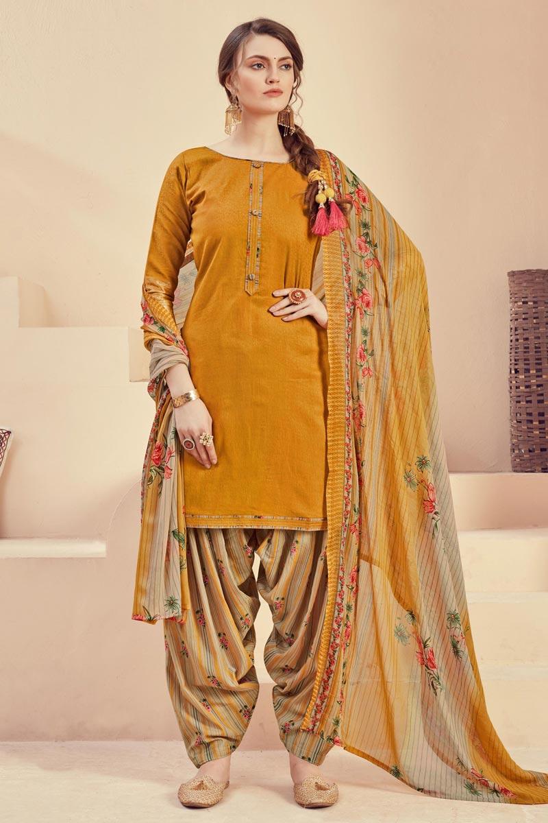 Mustard Color Casual Wear Fancy Printed Patiala Dress In Jacquard Fabric