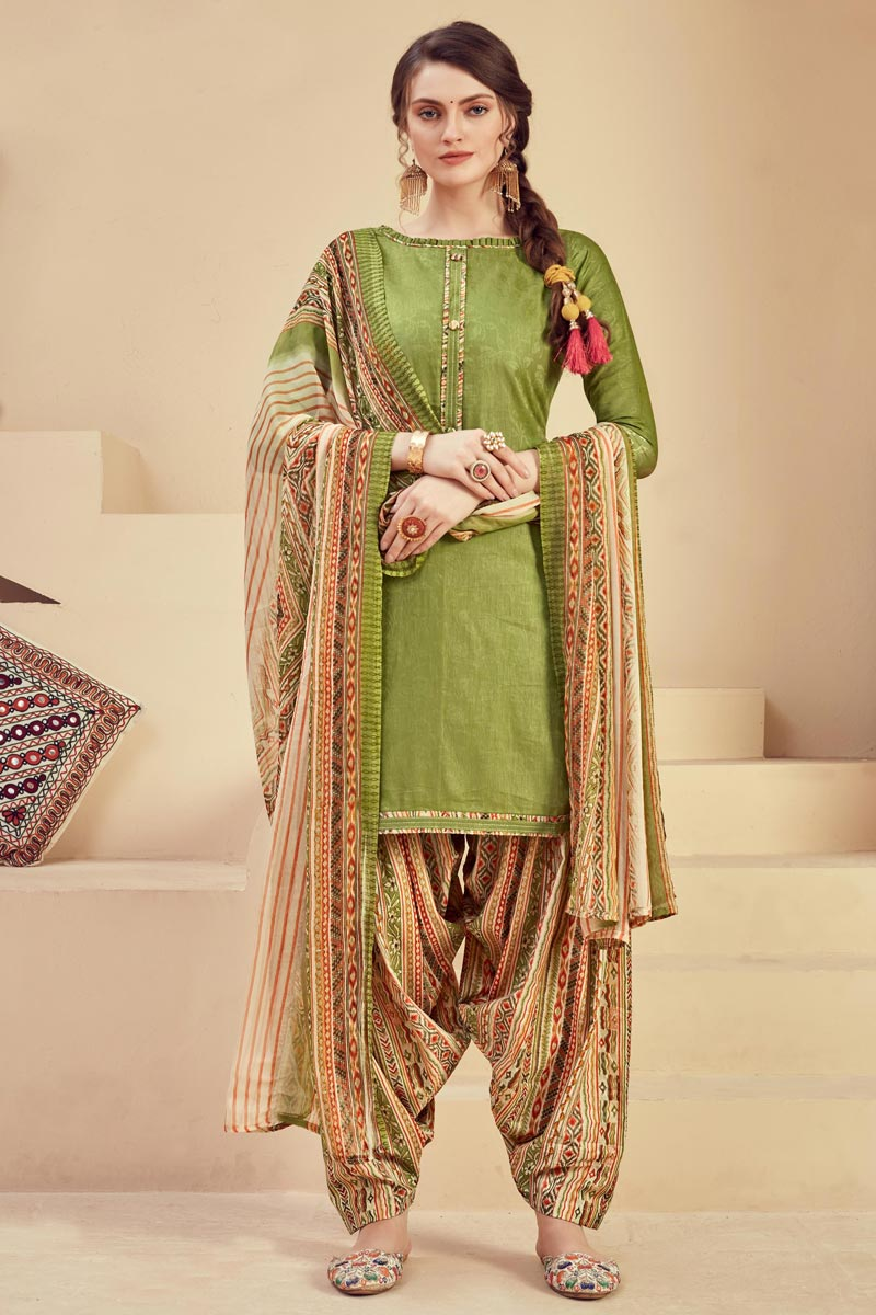 Fancy Green Color Casual Wear Printed Jacquard Fabric Patiala Suit