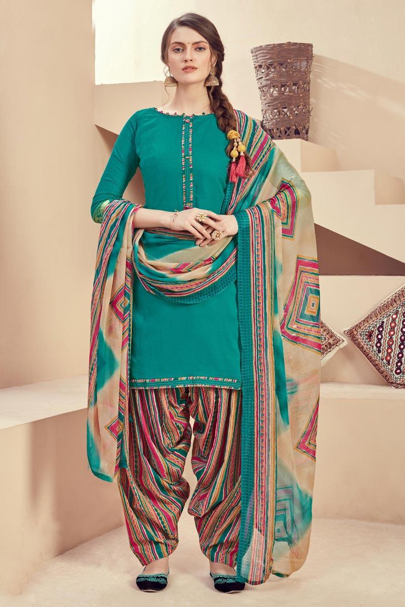 Casual Wear Cyan Color Fancy Jacquard Fabric Printed Patiala Suit