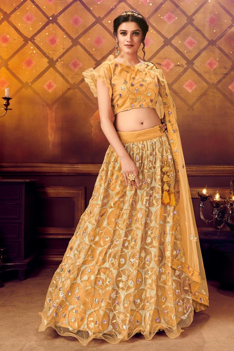 Sequins Work Mustard Color Wedding Lehenga