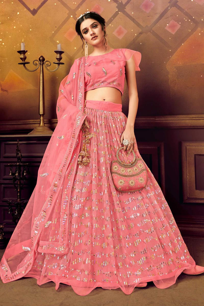 Pink Color Net Fabric Wedding Wear 3 Piece Lehenga