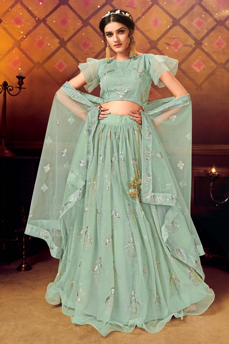 Net Fabric Sea Green Color Wedding Wear 3 Piece Lehenga Choli