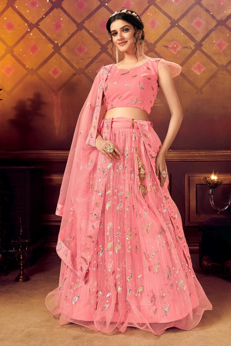 Pink Color Designer Reception Wear Net Fabric Lehenga Choli