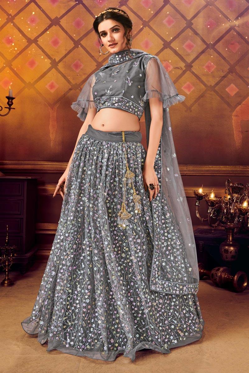Grey Color Net Fabric Sangeet Wear Fancy Lehenga Choli