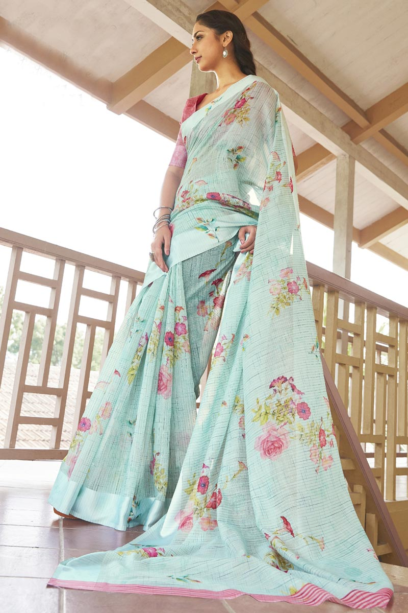 Puja Wear Elegant Linen Fabric Printed Sea Green Color Saree