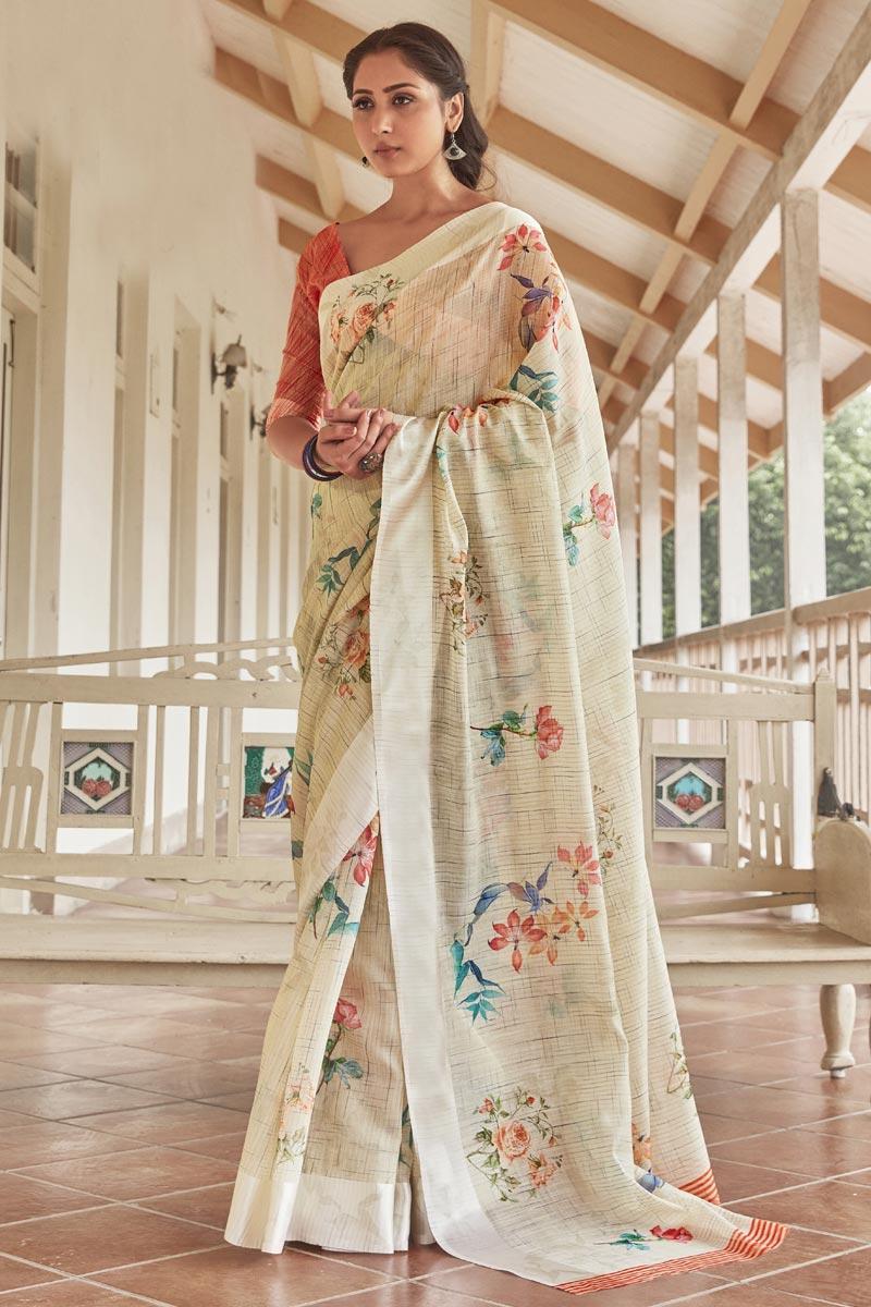 Beige Color Puja Wear Linen Fabric Elegant Printed Saree