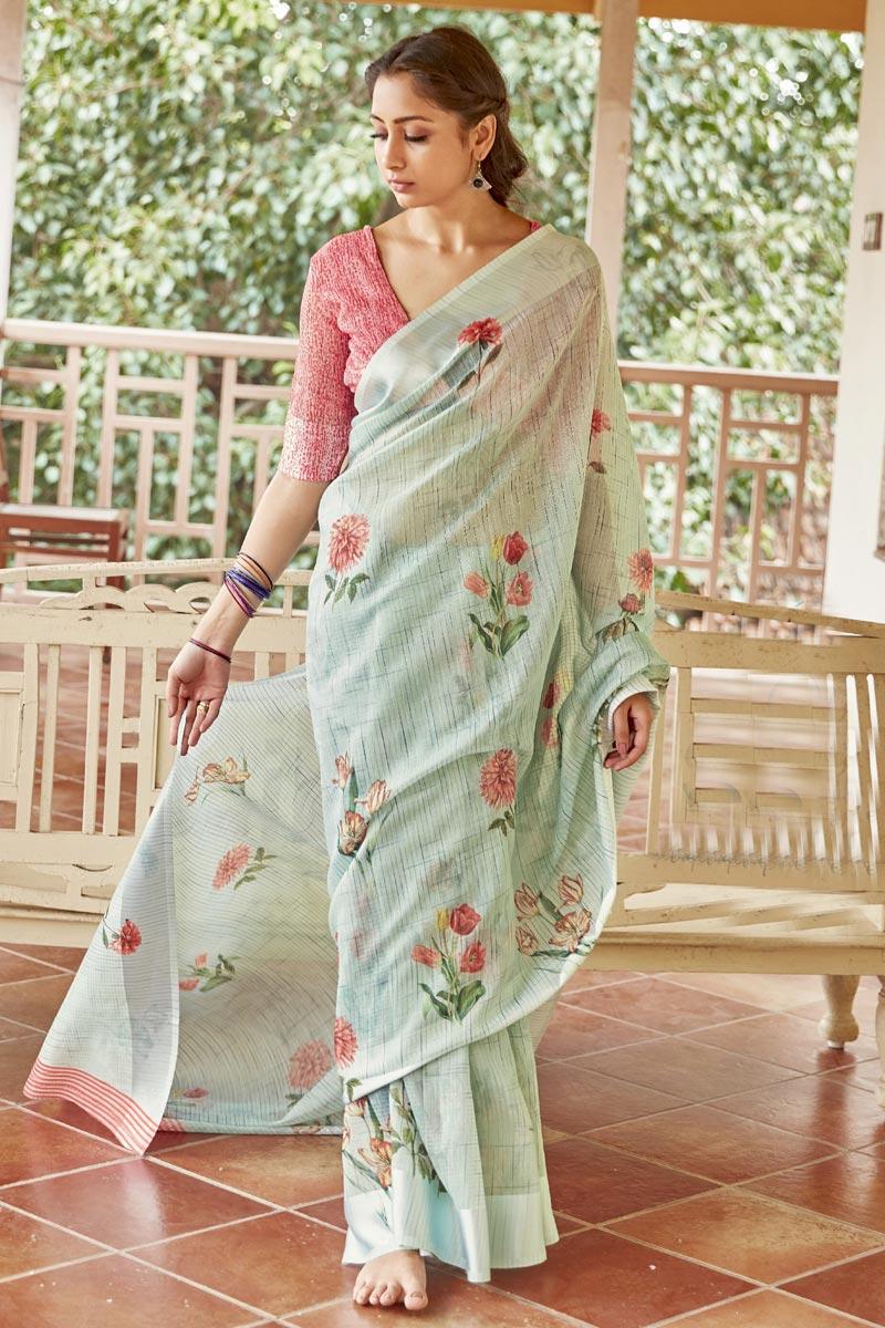 Puja Wear Sea Green Color Elegant Linen Fabric Printed Saree