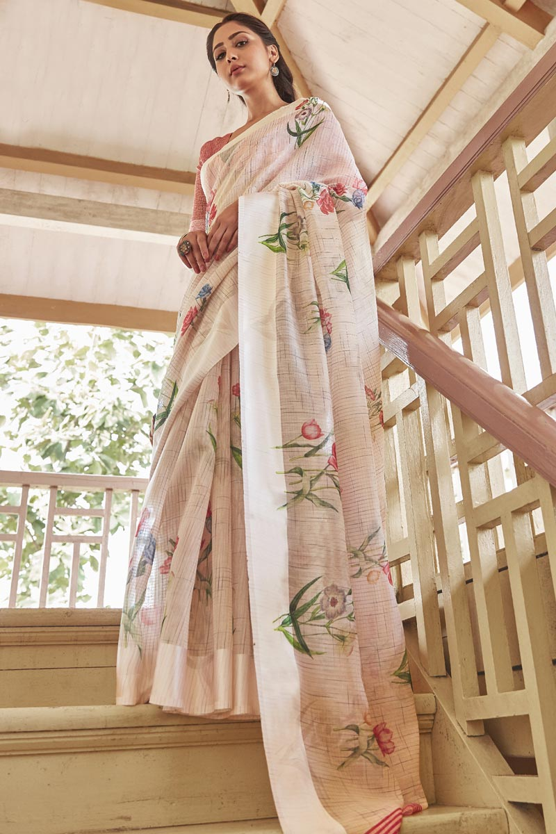Puja Wear Cream Color Elegant Printed Saree In Linen Fabric