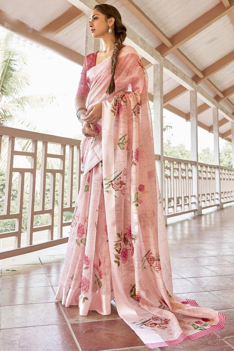 Linen Fabric Puja Wear Pink Color Elegant Printed Saree