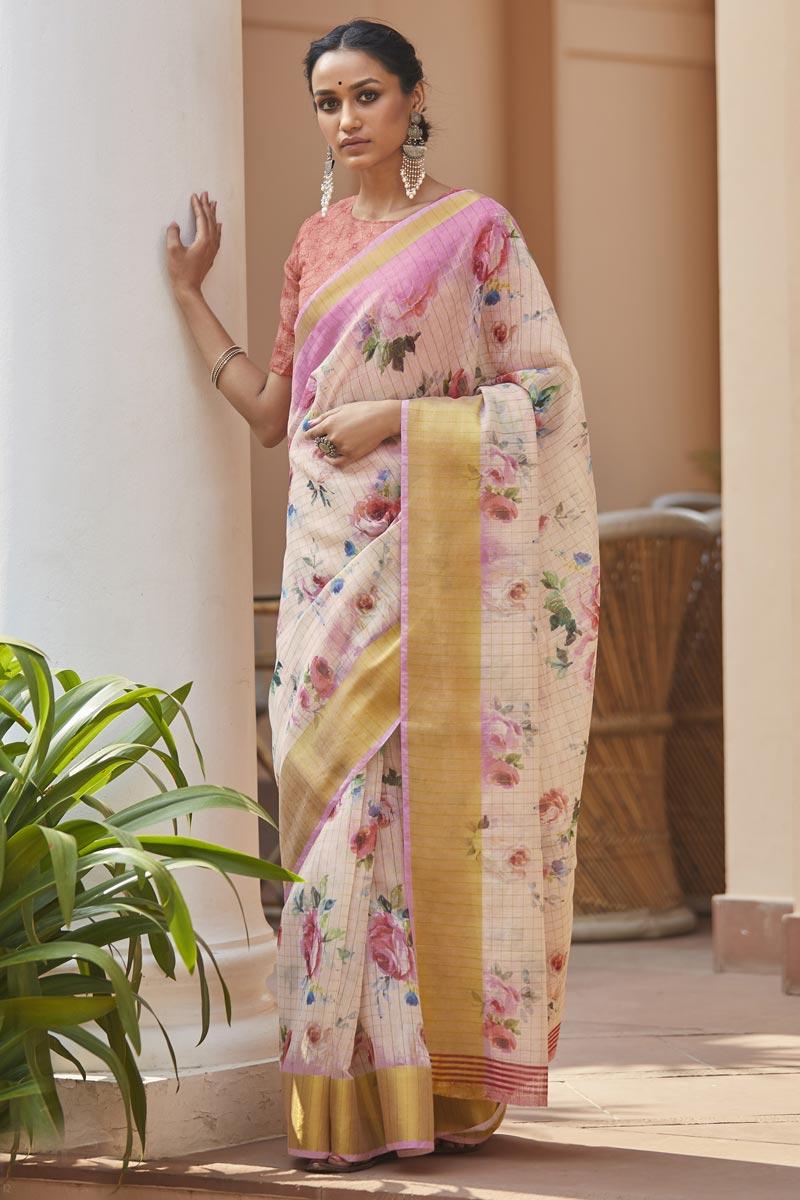 Linen Fabric Elegant Regular Wear Pink Color Printed Saree